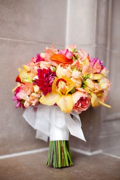 #Bouquet | What Gorgeous Colors! See the wedding on SMP:  http://www.StyleMePretty.com/california-weddings/san-francisco/2014/01/22/san-francisco-city-hall-elopement/ Photography: Monica Roy