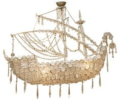 Crystal Ship Chandelier : A beautifully detailed Ship chandelier with rosette crystals, Spain, Circa 1900