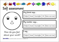 Student Self Assessment And Reflection Cards For Learning Centre