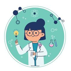 Female scientist having an idea lightbulb , Science Icons, Science Art, Character Illustration, Illustration Art, Chemistry Art, Easy Drawings For Beginners, Vie Motivation, Physics And Mathematics, Cute Patterns Wallpaper
