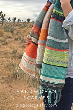 One of a kind handwoven heirloom scarves and other woven accessories. Woven Scarves, Striped Scarves, Loom Weaving, Hand Weaving, Bohemian Chic Fashion, Diy Scarf, Textiles, Weaving Patterns, Accessories Shop
