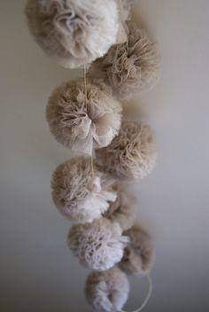 Pompom garland tulle flower elves''''