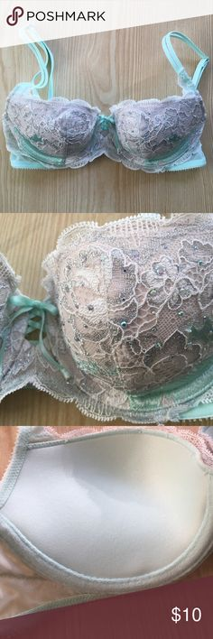 Victorias Secret Very Sexy Balconet bra Victorias Secret Very Sexy Balconet bra. Fully adjustable straps. Push up with a lower neckline.  Mint green and light tan color with jewels on the front of the cup.  The center has a cute lace up detail with bow. Size 32B.  NEVER WORN.  The cup is too small for me and don't prefer push up styles! Victoria's Secret Intimates & Sleepwear Bras