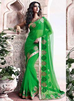 Latest Green Faux Chiffon Designer Saree