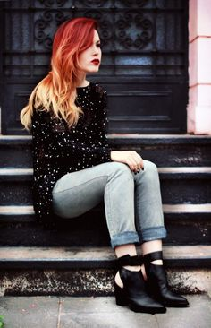 sparkly sheer black knit @ le happy