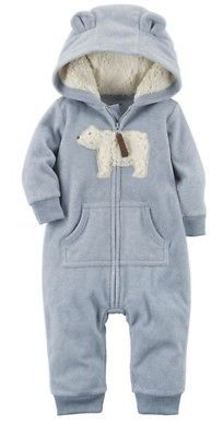 ce995a34b One-Pieces 57784  Carter S Boys Gray Fleece Jumpsuit With Sherpa ...
