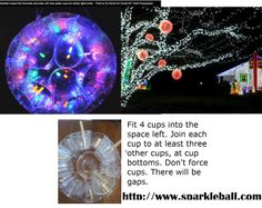 Light Orbs made with light and plastic lights.....great for any holiday or party to illuminate the back yard. http://www.sparkleball.com/make.htm