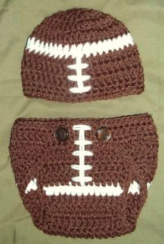 Crochet Baby Football Diaper Cover and Hat Set