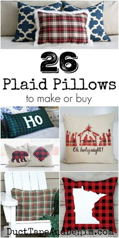 26 plaid pillows to make or buy. See them all and lots more Christmas pillows on DuctTapeAndDenim.com