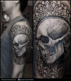trash skull mandala tattoo by redtrujillo.deviantart.com on @DeviantArt