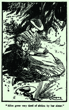 Alice sitting with her sister. Illustration by Thomas Heath Robinson from 'Alice's Adventures in Wonderland – Illustrated by Charles Pears and Thomas Heath Robinson'  http://www.amazon.com/gp/product/1473307023/ref=as_li_tl?ie=UTF8&camp=1789&creative=9325&creativeASIN=1473307023&linkCode=as2&tag=reaboo09-20&linkId=UADN5XCEU3W43C72