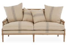 "Bayden 70"" French Settee, Flax/Brown 