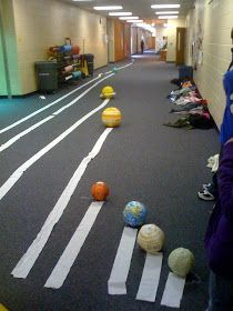 Great idea to show the accurate scale distances of the SS. But, if the planets were this size the sun would be bigger than the classroom. Inner rocky planets are too big compared to gas giants. Use more accurately sized spheres.