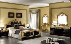 Barocco Bedroom Italian lacquer Black Gold
