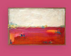 Or, Orange, rose, Art peinture - acrylique, Ora Birenbaum Art abstrait peinture originale sur toile intitulée : Rock Candy 24x36x1.5 »