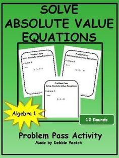 Solve Absolute Value Equations Problem Pass Activity Secondary Resources, School Resources, Math Resources, Algebra Activities, High School Activities, Absolute Value Equations, Algebra 1, Student Work, Distance