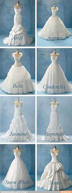 I want either Ariel or Jasmine's dress....even though I'm already married...I don't care lol