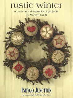 Primitive Folk Art Wool Ornaments -- Pattern -- RUSTIC WINTER. $13.75, via Etsy.