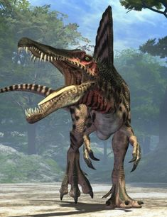 Pending further discoveries, Spinosaurus was the world's largest carnivorous dinosaur. Full-grown adults outweighed Tyrannosaurus Rex by a. Prehistoric Dinosaurs, Prehistoric World, Dinosaur Fossils, Dinosaur Art, Prehistoric Creatures, Dinosaur Crafts, The Animals, Spinosaurus, Dinosaur Photo