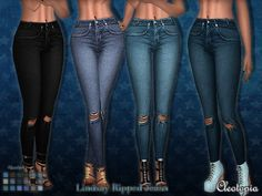 Enjoy these very lovely, basic jeans. They come in a large range of colors and have ripped knee details.  Found in TSR Category 'Sims 4 Female Everyday'