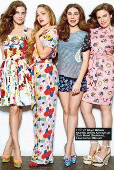 Love this pic of the GIRLS cast.  From left: Allison Williams (Marnie), Jemima Kirle (Jessa), Zosia Mamet (Shoshanna), Lena Dunham (Hannah)
