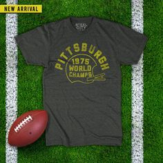 There isn't much doubt that the NFL in the 1970's belong mostly to the Pittsburgh Steelers. The '75 season was the team's 43rd in the NFL, and Pittsburgh was defending the Super Bowl IX title. | Pittsburgh Vintage T-Shirts | Quality Retro Steel City Tees