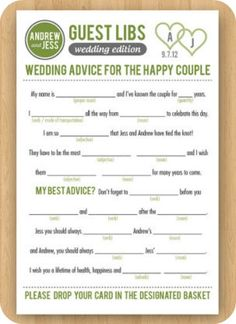 Mad Libs Wedding Guest Book - Etsy:  InkdDesignStudio