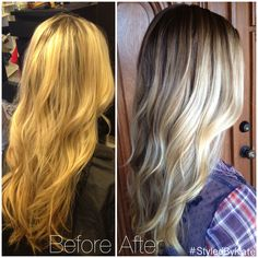 Before and after: grown out foiled blonde highlights to natural looking balayage streaks and a low maintenance halo root. #StyledByKate at Mecca. #sombre
