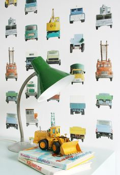 Studio Ditte Werkauto Behang Interieur inspiratie interieur trends muurdecoratie kinderkamer kids Work Vehicles wallpaper 03