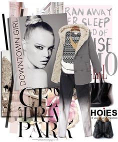 """Pink and Grey"" by pribortolon ❤ liked on Polyvore"
