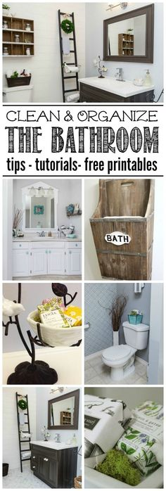 Everything you need to clean and organize the bathroom - cleaning tips, organization ideas, and free printables to keep you on track! Part of The Household Organization Diet. by penny Household Organization, Bathroom Organization, Organization Hacks, Bathroom Ideas, Organizing Tips, Organising, Deep Cleaning Tips, House Cleaning Tips, Cleaning Checklist