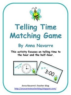 This Telling Time Game is a simple matching activity in which students match the analog clock cards to the time cards. The focus is on telling time to the hour and half-hour.