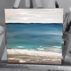 """This adorable minimalist abstract painting would look amazing in any area in your home or office! This is my Original Seascape """"Sweet Bay"""" A small painting with a big punch! A light texture and many,many light and delicate colors with a hint of strong. Dark Blue, Light Blue, Light Sea"""