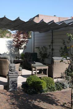 Terras met schaduwdoek, draadgeleiding Big Project, Project Board, Shade Structure, Backyard, Patio, Pavilion, Balcony, Pergola, Shed