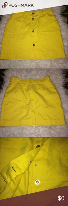 Celine button down skirt Vintage yellow denim skirt in EUC. Photo taken with flash on, picture do no justice to how unique these is. Great for spring and a beautiful item to wear years after year. Price reflect brand and condition, ask any questions below before purchase, giving my best description, if i do miss anything, I apologize, will only negotiate through offer button, low ball me and I will decline...no I don't model... Celine Skirts Mini