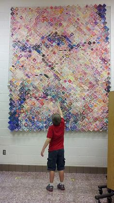 reproduction of famous painting--Done with Post-it notes with Elementary Students!!! (great example of art education that brings together art fundamentals of shading and color for a large group of kids to work on together-and a perfect blend of process and product). (probably some math in there too?)