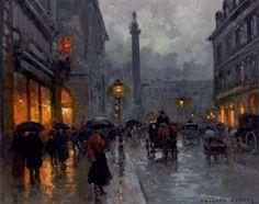 Edouard Leon Cortes- Place Vendome in the rain