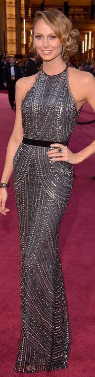 Stacy Keibler wearing Naeem Khanat gown  -  2013 Academy Awards -  one of the best gowns of the night  (art decco design?)