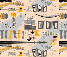 Atomic Abstract With Fish-ch fabric by hot4tees_bg@yahoo_com on Spoonflower - custom fabric