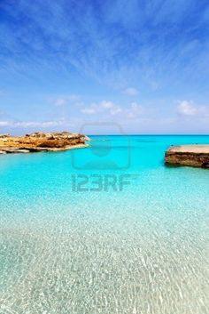 Es Caló de San Agustí puerto en la isla de Formentera  Baleares  Spain