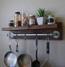 Image result for shelf and pot rack over stove