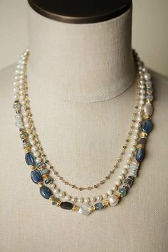 Seaside - This unique handmade gemstone and pearl chunky multi strand necklace for women, made in our Floyd VA USA studio