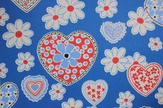 Bright Retro Hearts and Flowers- vintage wallpaper site