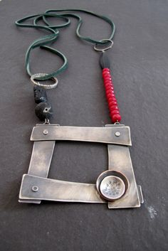 OOAK Contemporary necklece made of oxidized sterling silver, lava beads, faceted jade, leather cord.