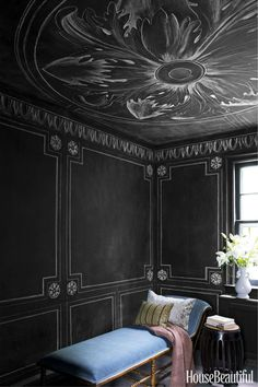CHALKBOARD WALLS – Artist Rajiv Surendra embellished the writing room of a Montreal townhouse with architectural elements drawn with chalk. The chalkboard paint is by Rust-Oleum. Click through for more home office ideas. Black Room Decor, Black Rooms, Room Wall Decor, Blackboard Wall, Chalk Wall, Chalkboard Paint, Chalkboard Bedroom, Black Chalkboard, Rajiv Surendra