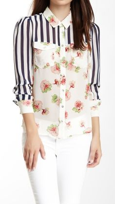 Stripes & Floral Blouse