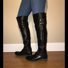 "Steven by Steve Madden Saxxy Boots These black leather boots have decorative buckles at the top & bottom. Outer zipper is decorative. Inner zipper goes part way up the boot for easy on and off. They have been worn a couple times and have very little wear. The shaft is approximately 21"" high with a 16"" circumference and a 1"" heel. Please note:  Inner size says 8.5, while the bottom says 8, as does the box. These fit as an 8. I believe interior was a misprint. These will not be shipped in box…"