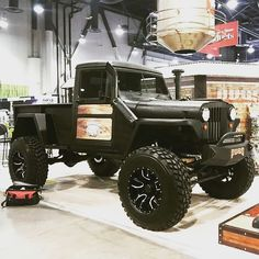 Picape Willys com motor Diesel Cummins from - Sittin pretty at the nacs booth earlier this year. by diesel_motors_brasil Old Pickup Trucks, Jeep Pickup, Dodge Trucks, Jeep Truck, 4x4 Trucks, Diesel Trucks, Custom Trucks, Cool Trucks, Custom Jeep