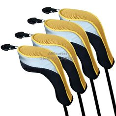 Free Shipping 4pcs/Set yellow Golf Hybrid Club Head Covers With Interchangeable No.Tag 3,4 ,5,7 ,X  Golf UT Head Cover #Affiliate