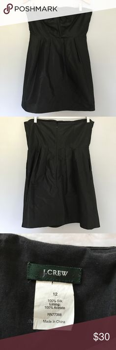 J.Crew Solid Little Black Cocktail Dress Size 12 This is a gorgeous silk strapless dress that would be perfect for a party. It is in excellent condition. Size 12. J. Crew Dresses Strapless